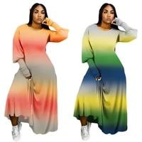 cy3958 large sexy fashion womens wear gradient long sleeve fashion stripe dress
