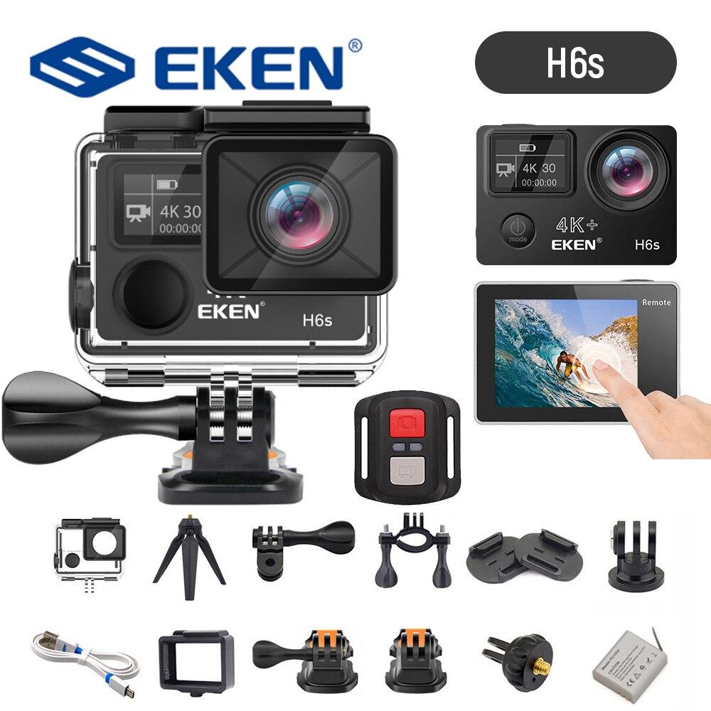 EKEN-كاميرا حركة H6s 4K ، فائقة الدقة ، 14 ميجابكسل ، جهاز تحكم عن بعد ، شريحة A12 ، 30 متر ، مقاومة للماء ، مستشعر باناسونيك ، كاميرا رياضية FS