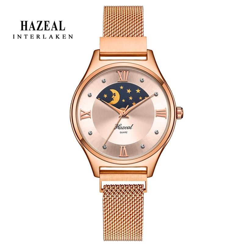 HAZEAL reloj pulsera de mujer de moda Diamondes marca de Lujo Señora reloj de pulsera de acero inoxidable impermeable montre femme gran oferta