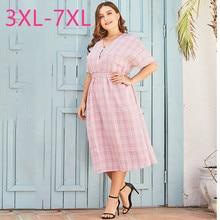New 2020 summer plus size long dress for women large loose casual cute short sleeve pink plaid V neck dress 3XL 4XL 5XL 6XL 7XL