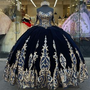 Dark Navy 2021 Ball Gown Quinceanera Dresses Bridal Gowns Sweetheart Long Sleeve Sweet 16 Dress vestidos de xv años anos