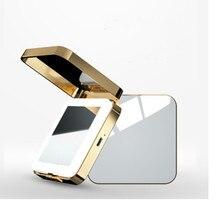 1PC kieszonkowe lusterko przenośne kobiety lustro do makijażu LED 10X kosmetyczne metalowe etui dwustronnie Pop-Up lustro akcesoria kosmetyczne