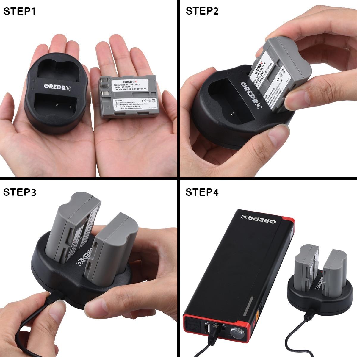 2000mAh EN-EL3E EN EL3E Replacement Battery with Charger for Nikon D300 D90 D80 D200 D70 D50 D800 D700 D30 Camera