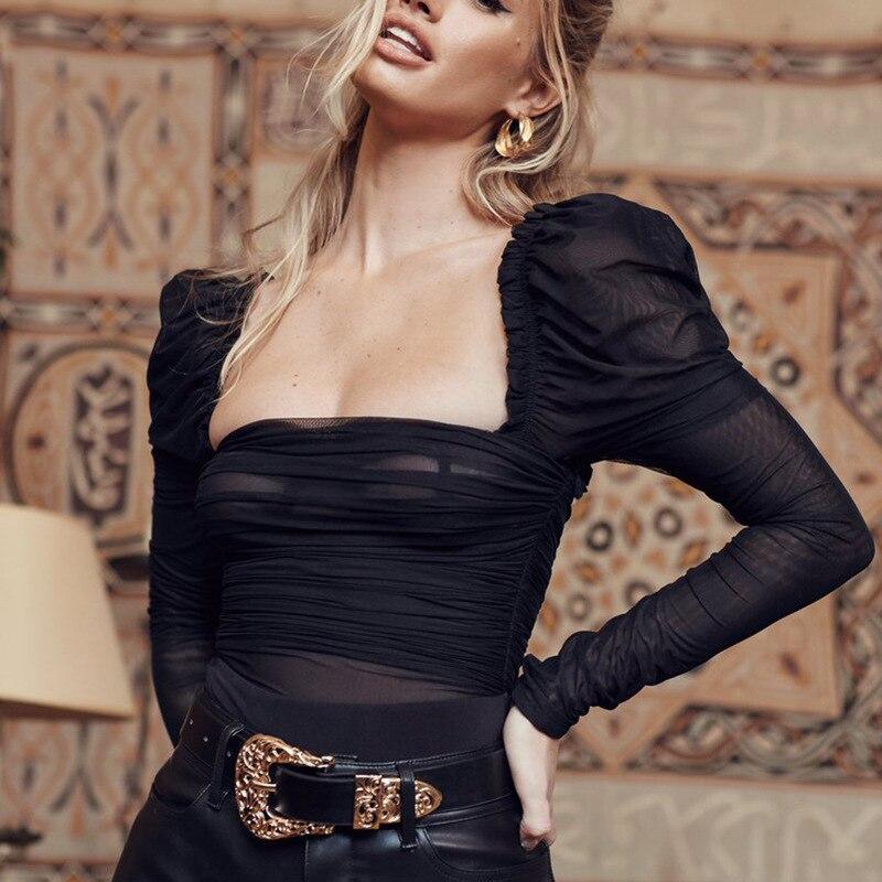 2020 czarna dwuwarstwowa siatka Sexy body kobiety topy babie lato nowy długi rękaw średnio wysoka talia body damskie kombinezony bodycon