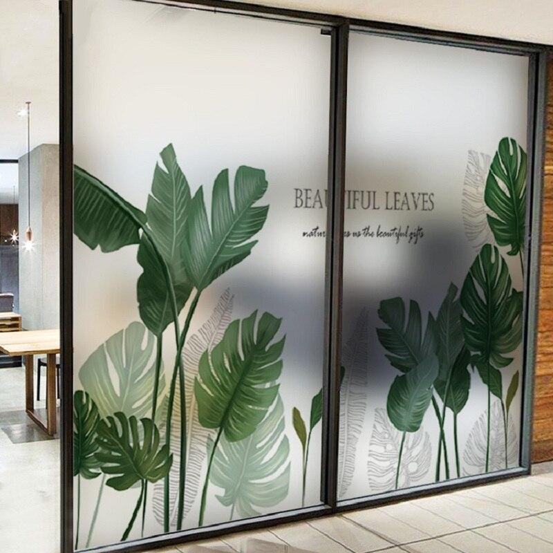 Película de cristal con patrón botánico calcomanía de vinilo para hogar película teñida privada para salón comedor dormitorio 40cm x 100cm
