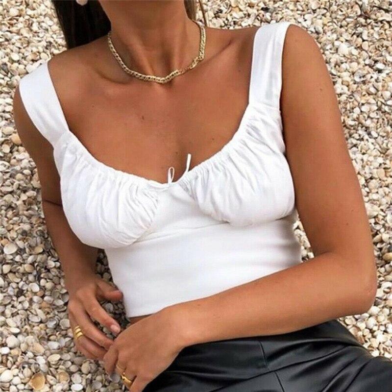 2020 mulheres verão milkmaid colheita topos tanques verão branco ruched arco magro camisa larga cinta t magro camisola