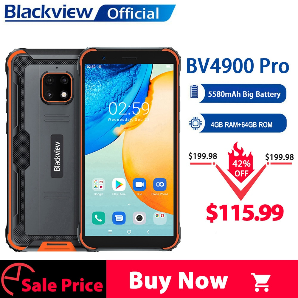 Blackview BV4900 Pro IP68 Rugged Phone 4GB 64GB Octa Core Android 10 Waterproof Mobile Phone 5580mAh
