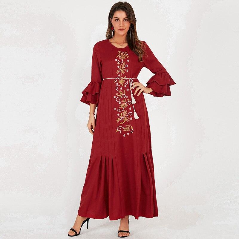 Платье женское однотонное с круглым вырезом, с цветочной вышивкой, в этническом стиле, с поясом, длинным Расклешенным рукавом, красное, на лето | Женская одежда | АлиЭкспресс