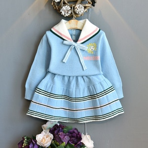 Children Clothing 2020 Autumn Winter New Children Printing Bowknot skirt Suit College Style Bottoming Shirt+Skirt Suit Christmas