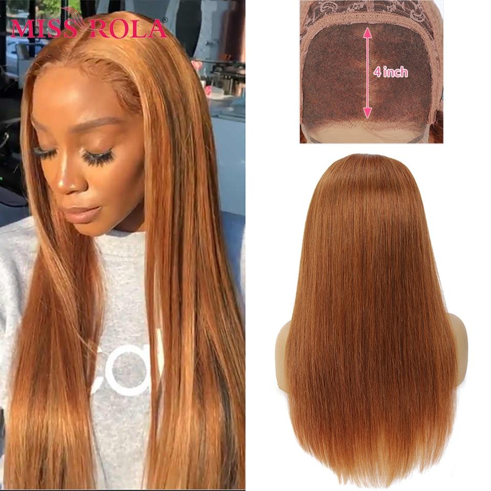 Miss Rola-شعر مستعار برازيلي طبيعي ، شعر بشري ، لون أشقر برتقالي ، مطوي مسبقًا ، إغلاق من الدانتيل ، 4 × 4 ، كثافة 180% ، 30 # 99J
