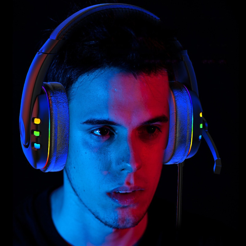 Gaming Headsets With Microphone PC Gamers Headsets Wired Headphones Backlit RGB Headset For Computer Tablet For Xbox One PS4 PS5 enlarge