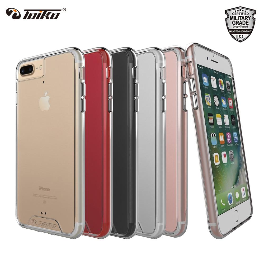 TOIKO Chiron transparente para iPhone 6 6s 7 7 8 Plus a prueba de golpes a prueba híbrido PC TPU parachoques funda protectora trasera de teléfono móvil