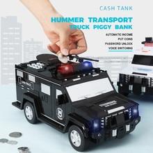 Fingerprint Password Cash Truck Car Piggy Bank Kids Money Box Coin Paper Bank Safe Saving Storage Bo