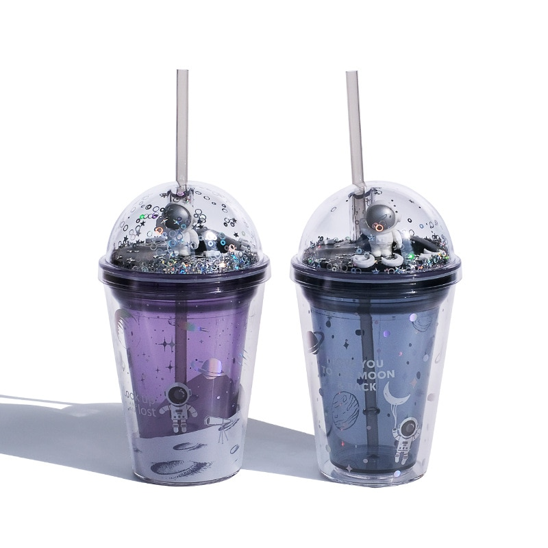 الفضاء تجول أكواب بلاستيكية مع غطاء و القش طبقة مزدوجة كوب بقشة Kawai أكواب بهلوان لطيف زجاجة ماء للسفر المنزل