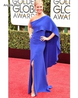 one shoulder royal blue mermaid evening dresses cape sexy split long celebrity red carpet gowns women formal occasion wear