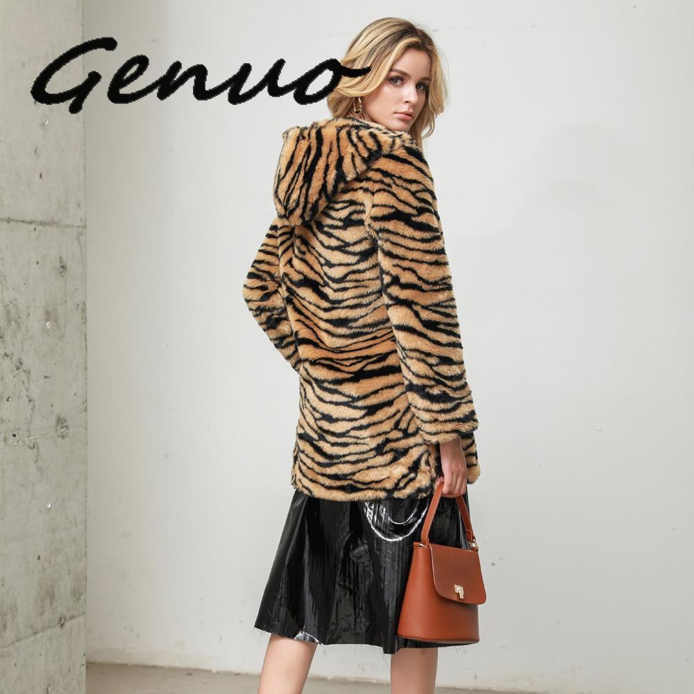 2019 jesienno-zimowa moda damska Faux Fur długa odzież wierzchnia kurtki ciepła grafika z tygrysem pluszowy pluszowy płaszcz casualowe w stylu streetwear kurtka damska