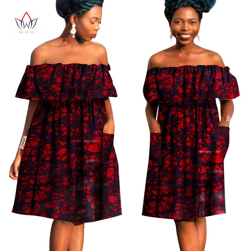 África estilo roupas plus size sexy slash neck vestido áfrica bazin riche tecido cera impressão bonito midi vestidos wy790
