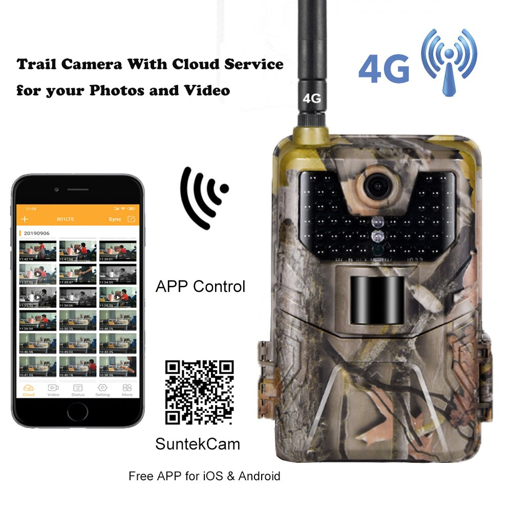 APP بث مباشر كاميرا تعقب خدمة سحابة 4G 4K الخلوية المتنقلة الحياة البرية الصيد كاميرات 30MP اللاسلكية HC900PRO المراقبة