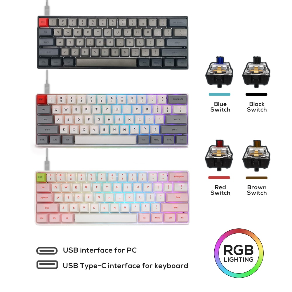 SK61 GK61 Mechanical Keyboard PBT Keycap USB Wired Gateron Optical Switch Axis RGB Backlit Gaming PC Desktop Laptop Gamer akko 3084 v2 ocean star 84 key mechanical game keyboard pbt keycap usb 2 0 type c wired side letter caverd design gaming keyboard pink shaft