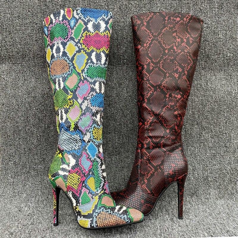 AIWEIYi nuevas Botas altas hasta la rodilla para Mujer atractivas, Zapatos altos delgados, tacones altos para Mujer, Botas altas hasta el muslo con estampado de serpiente en Botas Mujer