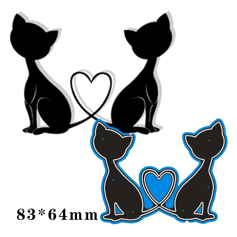 64*83mm two cats and heart Metal steel frames Cutting Dies DIY Scrap booking Photo Album Embossing paper Cards
