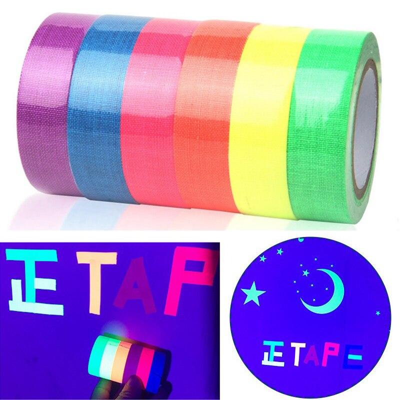 6 rolos/conjunto de fita de algodão uv fluorescente mate de alto brilho luminosa luz roxa fita adesiva de pano de néon filme estágio adereços mágicos