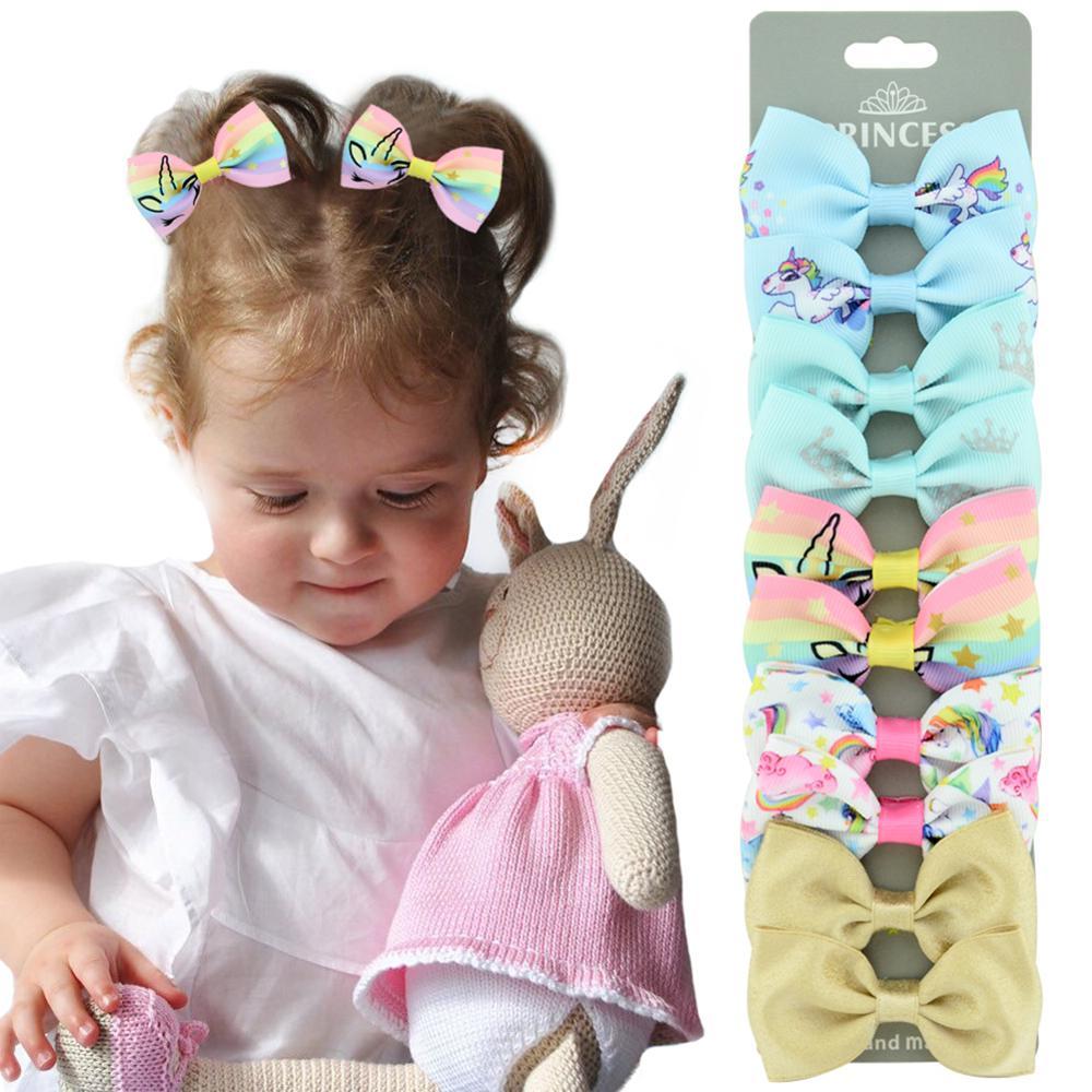 """10 unids/set 2,75 """"Imprimir lazos multicolores para el pelo hecho a mano con Clips para niños niñas horquillas accesorios para el cabello"""