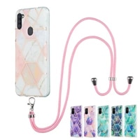 marble hanging rope phone case for samsung galaxy a20 a30 a50 a50s a30s a31 a11 m11 cases with lanyard soft imd back cover funda