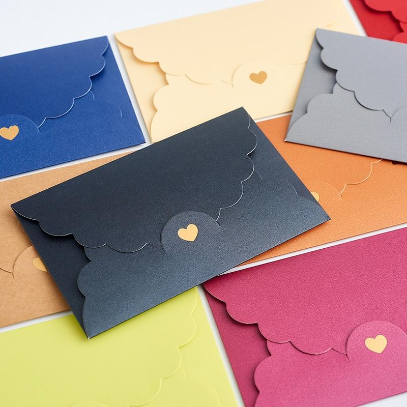 10pcs/lot Gold Stamp Heart Envelopes Letter Vintage Iridescent Paper Envelope for Wedding Invitations Stationary