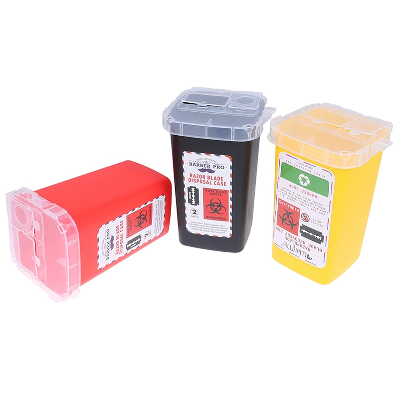 Tattoo Artist Waste Box Plastic Sharps Container Medical Needles Bin Biohazard Tattoo Piercing Needles Disposal Collect Box
