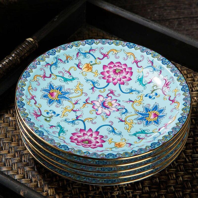 6 بوصة طبق تقديم الحلوى المينا السيراميك طبق مستدير من البورسلين طبق المعجنات الحاويات الرعوية أواني الطعام أطباق عشاء الصينية ديكور الحرف