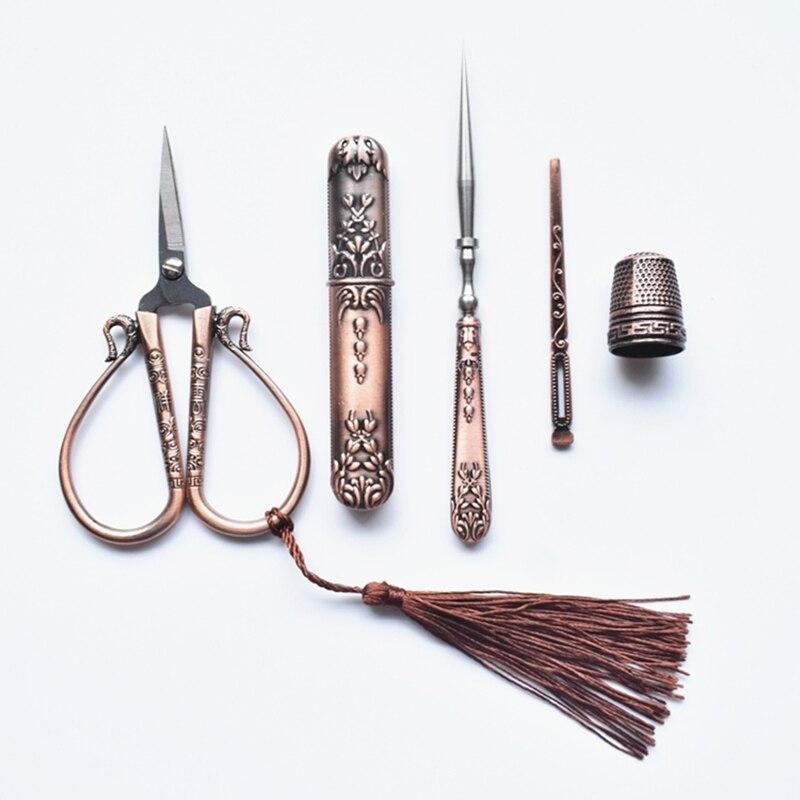 Tijera Retro Vintage tijera, tubo de almacenamiento de aguja, enhebrador de aguja, tijeras de costura bordadas a medida, artículos para costura cruzada