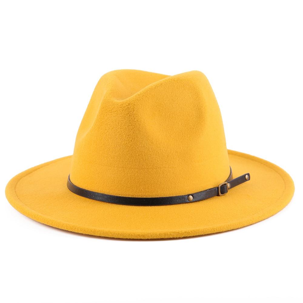 Hot Classic Leather Fedoras Hat Men Felt Jazz Hats Floppy Women Autumn Winter Casual Top Cap for Wed