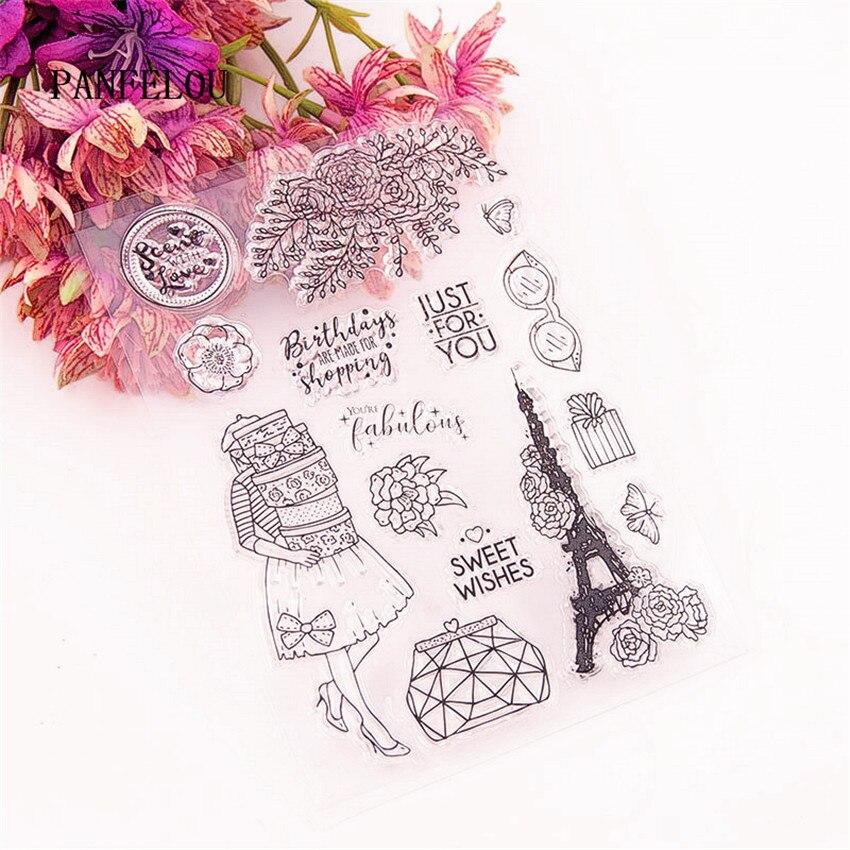 PANFELOU 11x15cm Paris viaje sello de silicona transparente/sello DIY scrapbooking/álbum de fotos hojas de sello claro