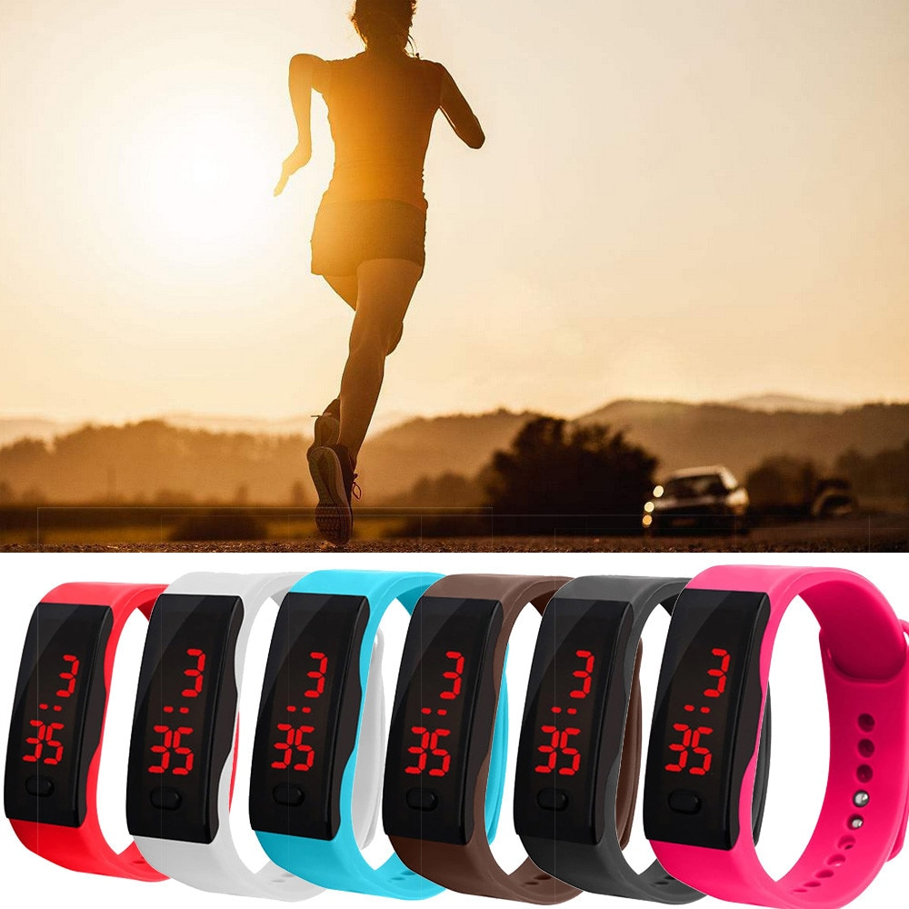 Led Digital Watch Display Bracelet Watch Students Silica Gel Sports Wristwatch Children Watch Gift �