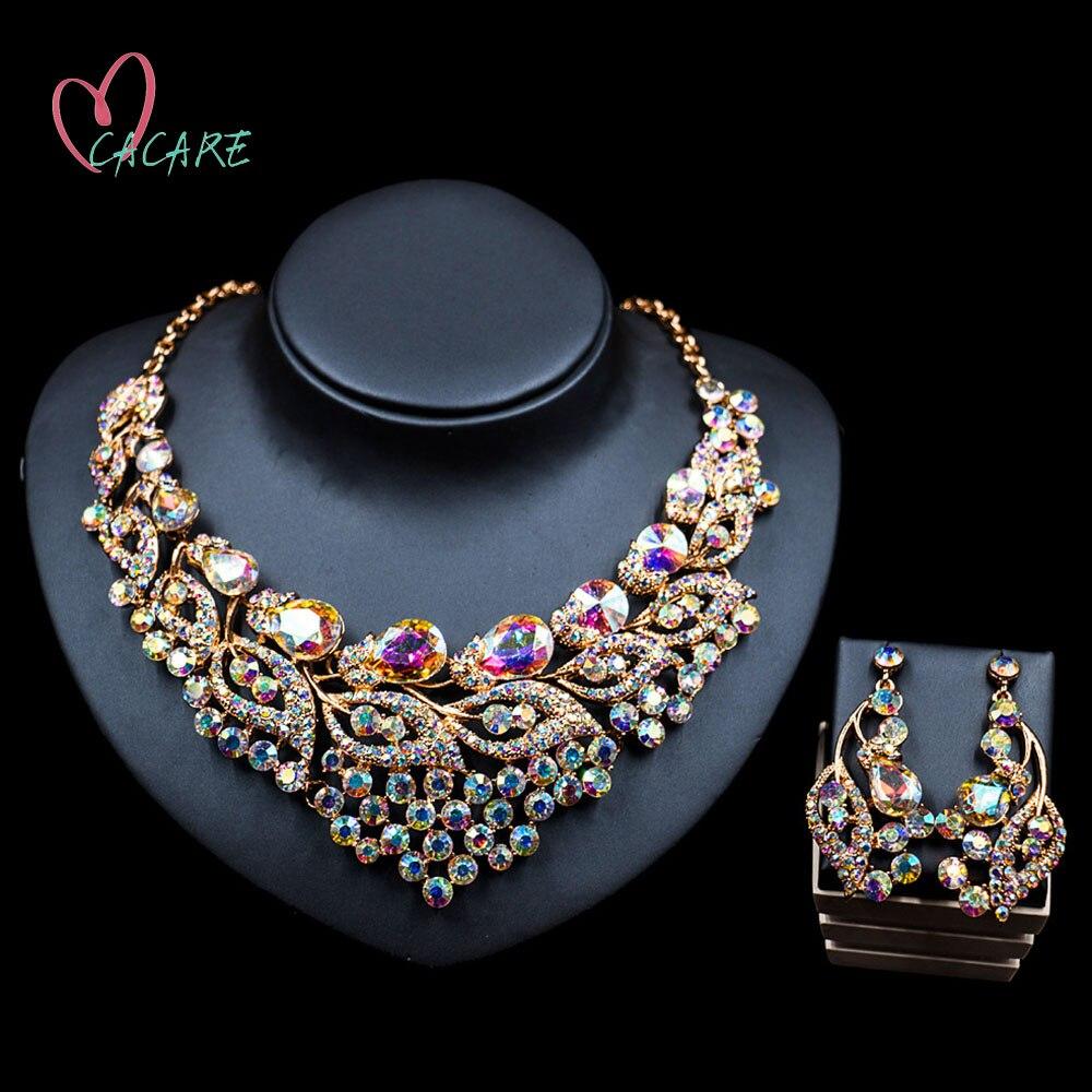 CACARE-طقم مجوهرات فاخر للنساء ، طقم مجوهرات كبير دبي ، أقراط متدلية ملونة ، عقد ، 2021 ، F0293