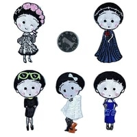 new lovely girl lady iron on patches sewing embroidered applique for jacket clothes stickers badge diy apparel accessories