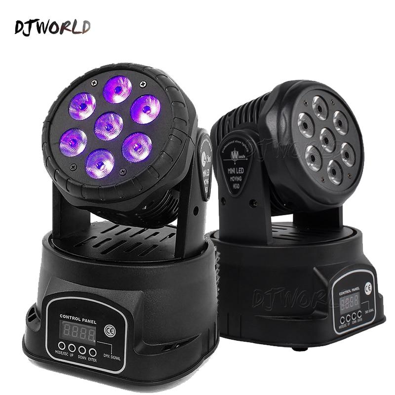 Djworld LED 7X18W Wash Light RGBWA% 2BUV 6in1 Moving Head Stage Light DMX Stage Light DJ Nightclub Party Concert Stage Professional