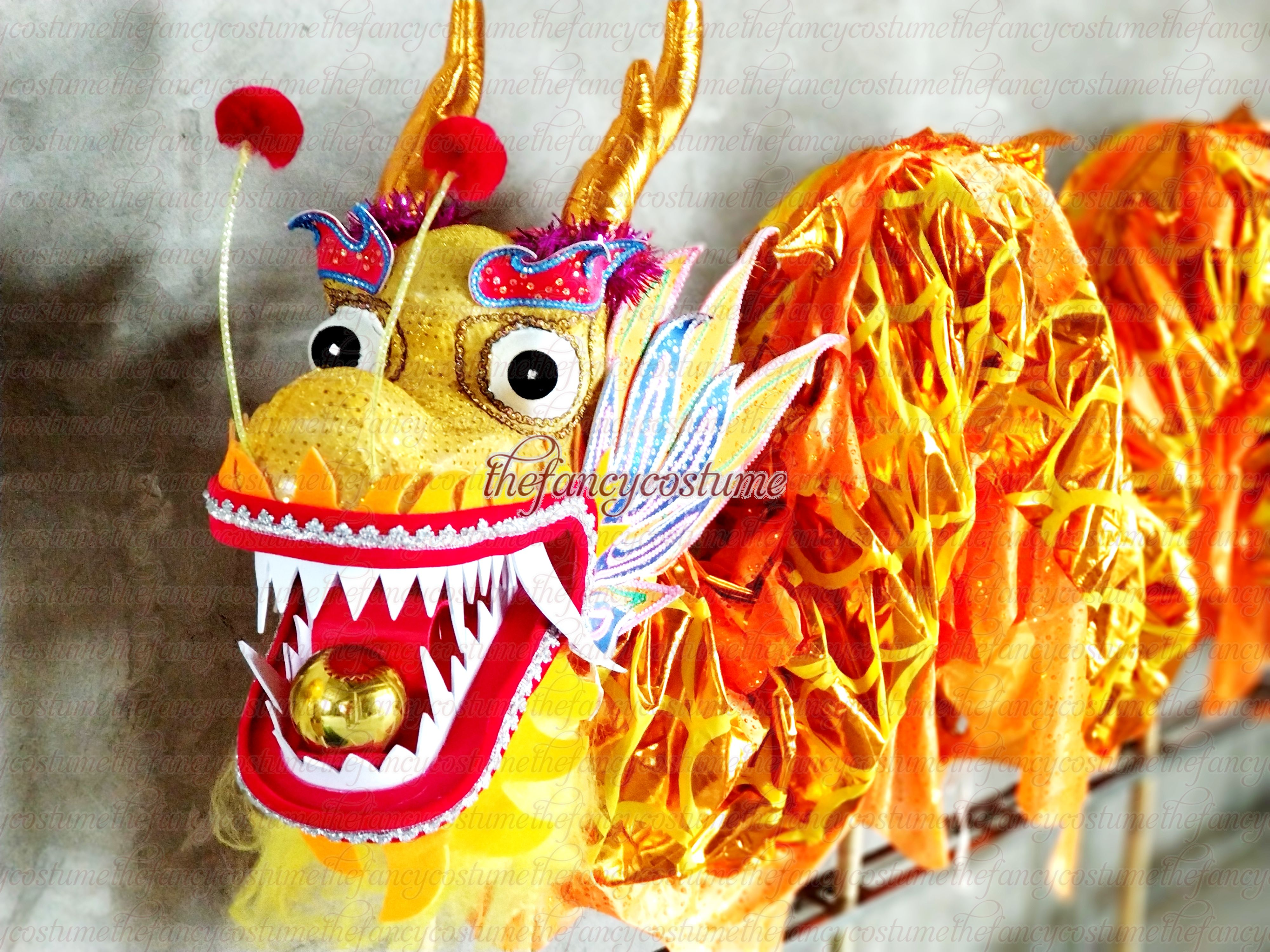 4 Players Kid Children 3.1m Golden  Length Dragon Dance Costume  Boy Girl School Halloween Party Performance Parade Folk Stage