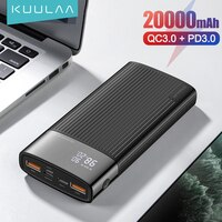 Портативное зарядное устройство KUULAA, 20000 мАч, QC PD 3,0