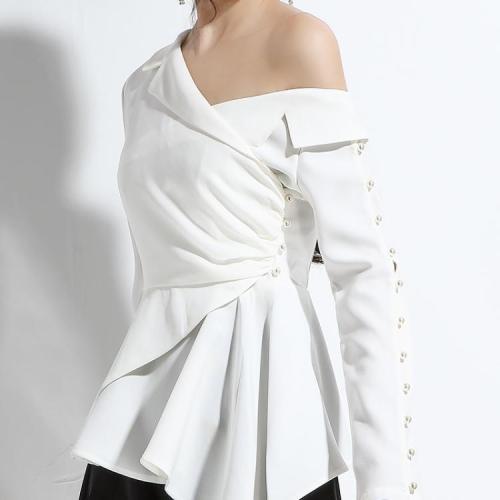 Genayooa womens topos e blusas vintage manga longa irregular skew colarinho camisa sexy fora do ombro superior senhoras estilo coreano 2020