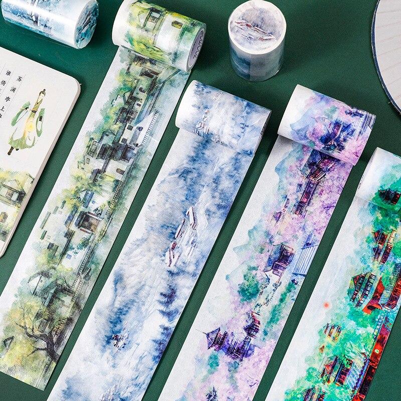Vintage Washi Tape Retro estilo chino acuarela cinta adhesiva diario cinta decorativa de papel pegatinas Scrapbooking