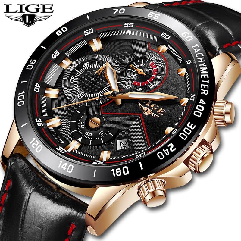 Relojes para hombre LIGE, marca de lujo, reloj de pulsera de cuarzo a la moda para hombre, reloj deportivo informal de cuero resistente al agua, reloj Masculino