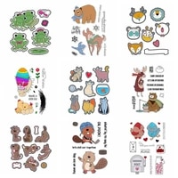 9 adorable animals stamps and dies 2020 frog bear fox chicken cat moose dog squirrel bird stamp and die sets for card making