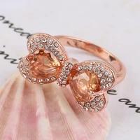 gorgeous rhinestone bow shape rings design white zircon embellished rose gold color wedding rings for female wedding band gift