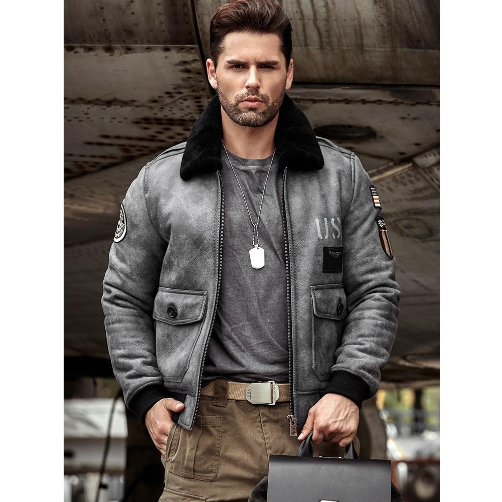 Mens Gray Sheepskin Shearling Jacket Leather Jacket A2 Airforce Flight Coat Mens Winter Fur Jacket
