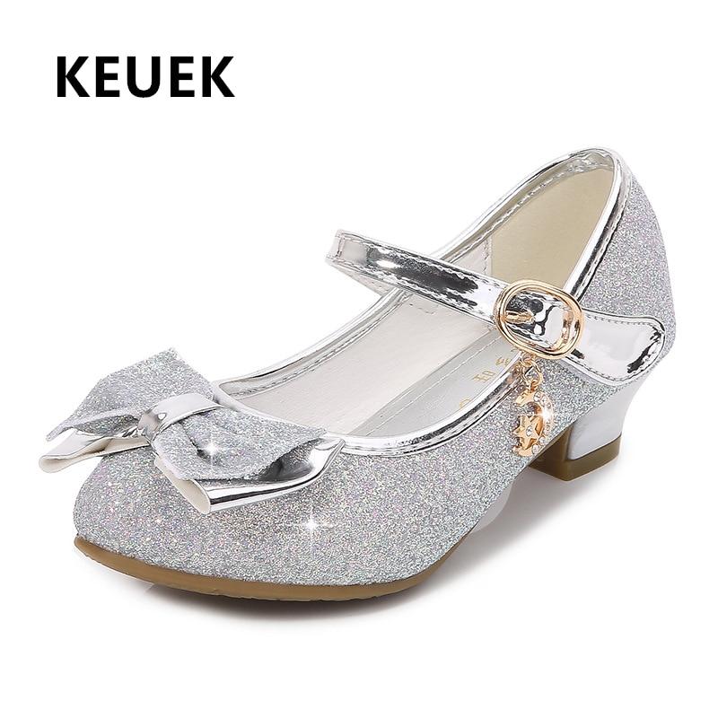حذاء برنسيس من الجلد الكريستالي للبنات ، كعوب عالية ، فراشة ، حفلة رقص ، للأطفال الصغار 033