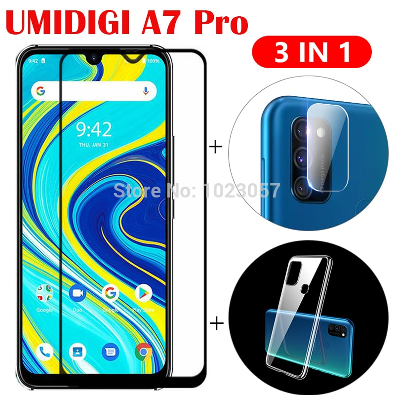 3-in-1 Case + Camera Tempered Glass On UMIDIGI A7 A7 A9 Pro ScreenProtector Glass For UMIDIGI A7 Pro