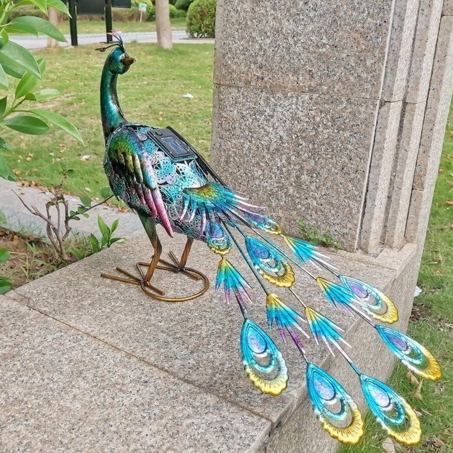 Ed Solar Light Garden European and American  Villa Iron Peacock Swan Luminous Floor Garden Decoration enlarge