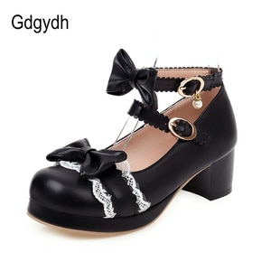 Gdgydh New Design Women Lolita Shoes Lace Bow-knot Round Toe Female Single Shoes Thick Heels Shallow-Out Girls Shoes For Student